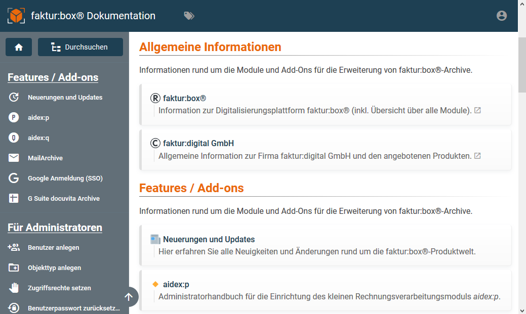 faktur:box® Wiki und Dokumentationsportal